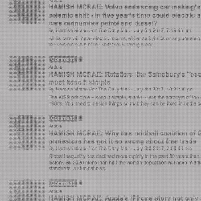 Hamish McRae articles for The Daily Mail